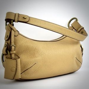 Antonio Melani Beige Leather Shoulder Handbag